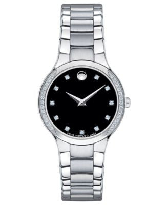 Movado Women's Swiss Serio Diamond (1/5 ct. t.w.) Stainless Steel Bracelet Watch 28mm 0606491