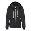 Anvil Ladies Full Zip Hooded Sweatshirt - Black