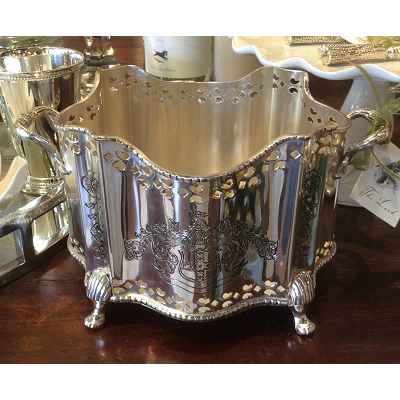 SILVER PLATED FOOTED PLANTER MD