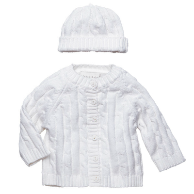 CABLE KNIT SWEATER & HAT SET WHITE