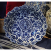 BLUE & WHITE SWIRL FLORAL LOW BOWL