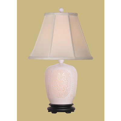 BONE CHINA GINGER JAR LAMP WITH CUT OUTS