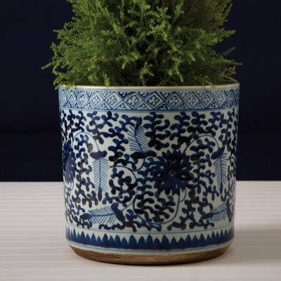 BLUE & WHITE LOTUS PLANTER
