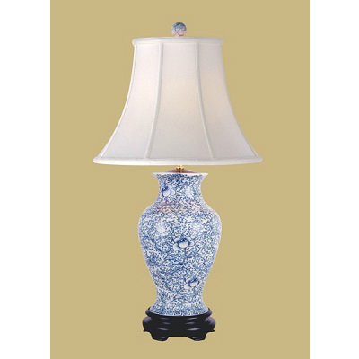 BLUE & WHITE SCROLL TABLE LAMP