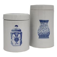 BLUE AND WHITE SET OF 2 CANISTERS