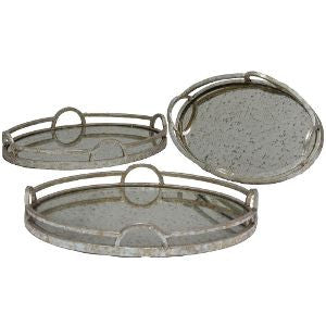 MEDIUM OVAL METAL TRAY WITH MIRROR
