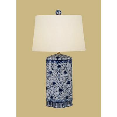 BLUE & WHITE OVAL VASE VINE LAMP