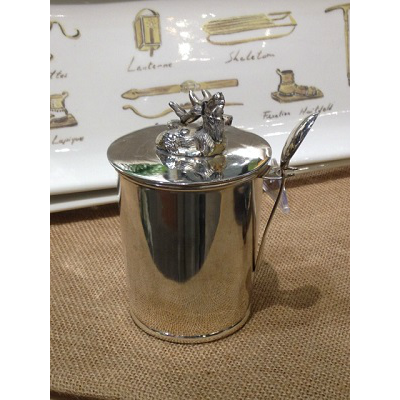 SILVER DEER JAM POT WITH SPOON