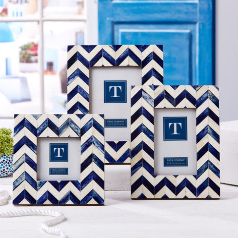 BONE CHEVRON BLUE AND WHITE FRAMES