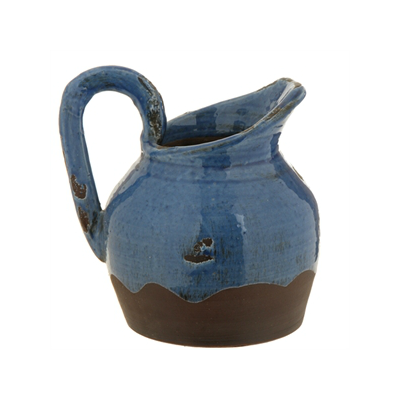 BLUE CRACKLE PITCHER CONTAINER