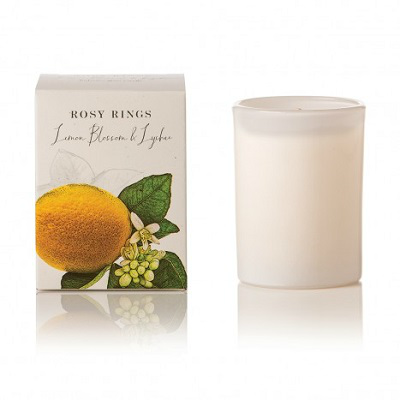 ROSY RINGS LEMON BLOSSOM & LYCHEE GLASS CANDLE