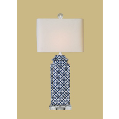 BLUE & WHITE SQUARE LAMP