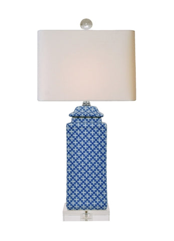 BLUE & WHITE SQUARE JAR LAMP WITH A CRYSTAL BASE  //  REGISTERED FOR 2 LAMPS // 1 PURCHASED  // NEEDS 1 TO FULFILL REGISTRY