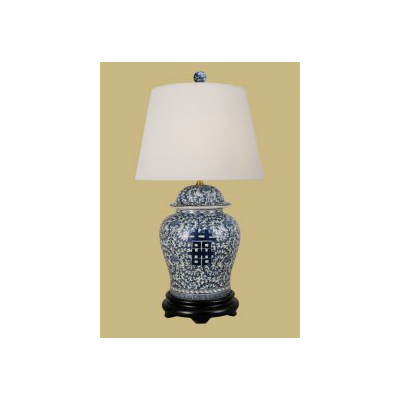 BLUE AND WHITE HAPPINESS JAR LAMP