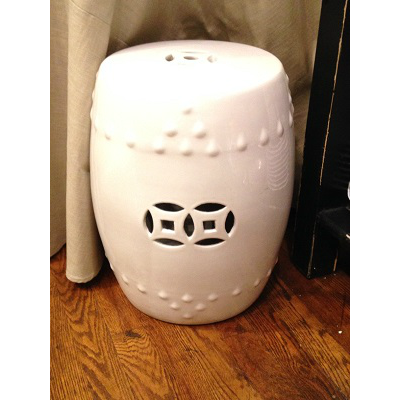 WHITE PORCELAIN GARDEN STOOL
