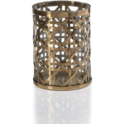 HERITAGE WEAVE ANTIQUE BRASS CANDLE HOLDER