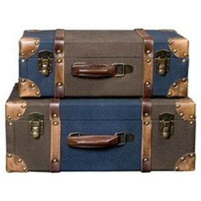 LINEN & LEATHER TRUNK LG