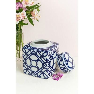 BLUE & WHITE GEOMETRIC JAR WITH LID