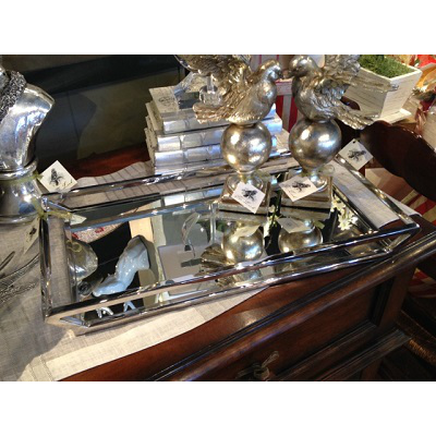 SILVER TRAY WITH MIRROR