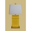 YELLOW RECTANGLE LAMP WITH GOLD BASE