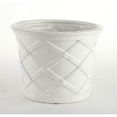 LATTICE WHITE CACHEPOT
