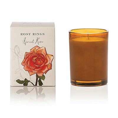 ROSY RINGS APRICOT ROSE GLASS CANDLE