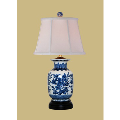 BLUE & WHITE FLORAL TABLE LAMP