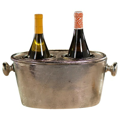 RAW ALUMINUM 2 BOTTLE WINE HOLDER