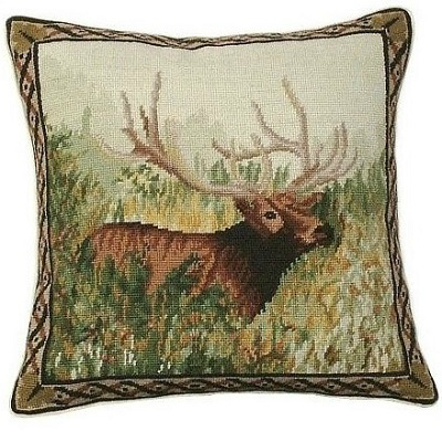 ELK IN THE WOODS NEEDLEPOINT PILLOW