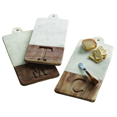 MARBLE & WOOD INITIAL CUTTING BOARD // LETTER D