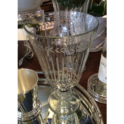 ETCHED GLASS FOOTED VASE