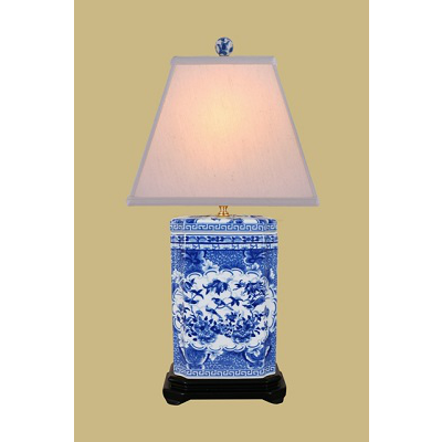 BLUE & WHITE RECTANGLE CANTON LAMP