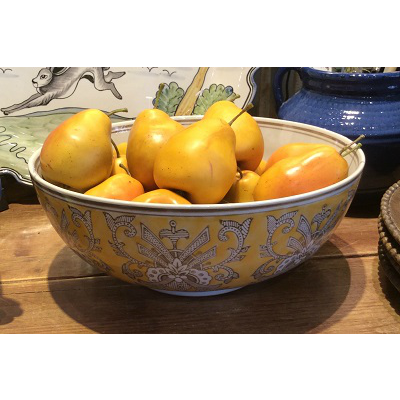 YELLOW FLORAL TEMPLE BOWL