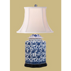 BLUE & WHITE FLORAL SCALLOPED TEA JAR LAMP