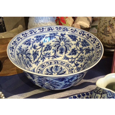 BLUE & WHITE LARGE FLORAL BOWL