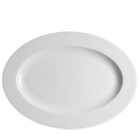 "CASKATA 14"" WICKER WHITE OVAL PLATTER"