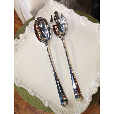 SILVER SPOON & FORK SERVING SET