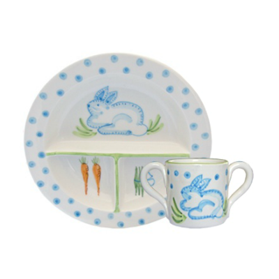 CERAMIC BUNNY CUP & PLATE SET: BLUE DOT