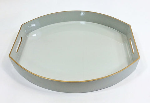 Ellipse Lacquered Tray Off White
