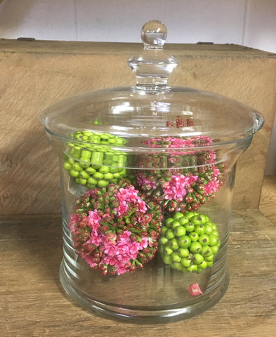 ROUND GLASS CONTAINER WITH PINK AND GREEN BERRY BALLS