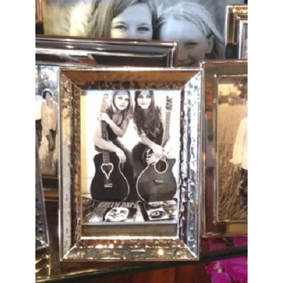 HAMMERED CONCAVE SILVER 4X6 FRAME