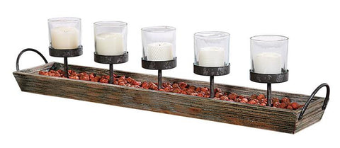METAL WOOD VOTIVE HOLDER