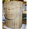 LARGE BASKET WITH LEATHER STRAP