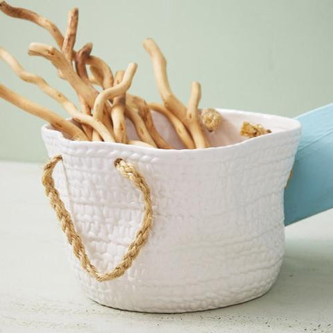 WHITE ROPE HANDLED BASKET