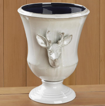 WHITE CERAMIC STAG URN