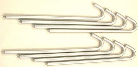 16S8-zinc plated 18-inch long, 5/8 round, eight steel hook stakes