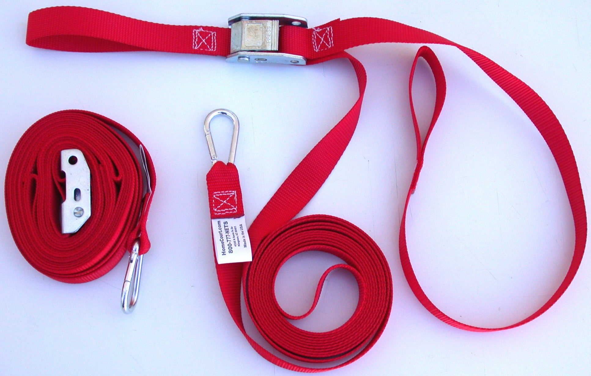 8LSLGS-pair of red 1-inch webbing ratchet-buckle guy lines spring snap connection