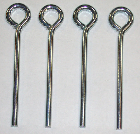 5SC-four zinc plated, 5-inch long,1/4 round steel pegs, closed eye loop