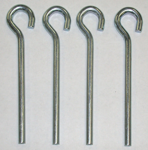 5SO-four zinc plated, 5-inch long,1/4 round steel pegs, open eye loop
