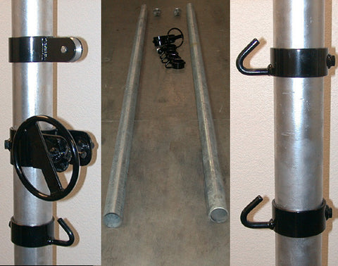 AGP-all game net posts, movable winch, pulley & eye-hook collars